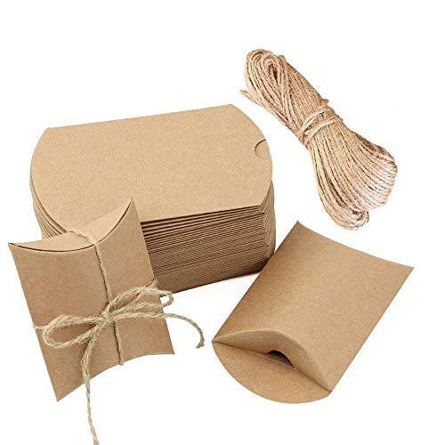 100 Piezas Cajas Almohadas Papel Kraft Vintage, Cajas Almohadas Marrones...