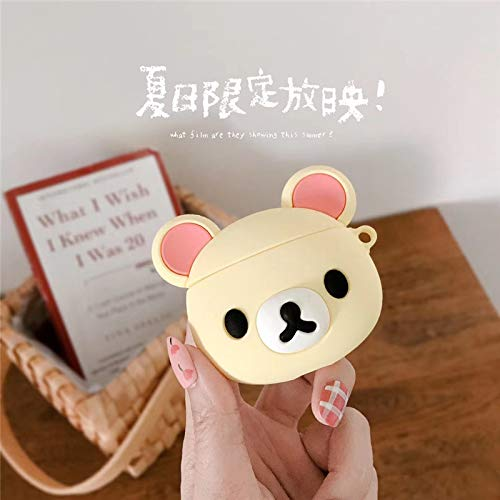 BlossomingLove Compatible with AirPods Case Keychain Full Protective Premium PVC Silicone Cover Fashion Dope Self-Design Rilakkuma Style Skin for AirPods Charging Case (Rilakkuma White)