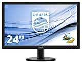 Philips Monitor 243V5LHSB Gaming Monitor per PC Desktop 23.6' LED Full HD, 1920 x 1080, 250 cd/m², 1 ms, HDMI, DVI, VGA, Attacco VESA, Nero