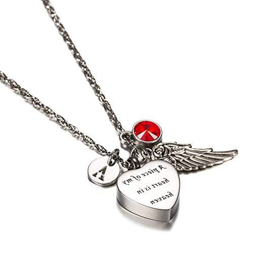 Epinki Acero Inoxidable Corazón Flor de Rosa ala del ángel Cartas T Piedra del zodíaco Julio Circonita Ceniza Urna Collares