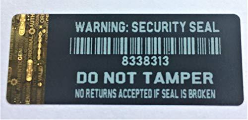 Achtung Sicherheitssiegel, manipulationssicher Security Etiketten mit goldfarbenem Hologramm Streifen zu Kurz Edge X 1000 jeder mit einer einzigartigen Seriennummer