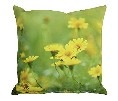 Nnice Outdoor Kissen Gänseblümchen Gelb Gartenkissen Blume Wasserabweisend 40x40cm