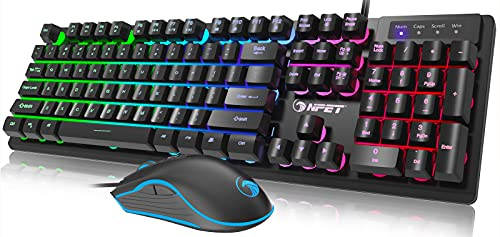 NPET S20 Wired Gaming Keyboard Mouse Combo, LED Backlit Quiet Ergonomic Mechanical Feeling Keyboard, Backlit Gaming Mouse 3200 DPI, for Desktop, Computer, PC, Black