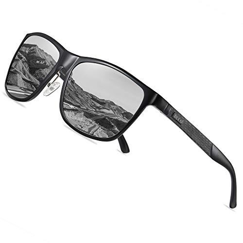 DUCO Rechteckigen polarisierten Metallrahmen Sonnenbrille Outdoor-Brille für das fahren 8200 (Schwarz)