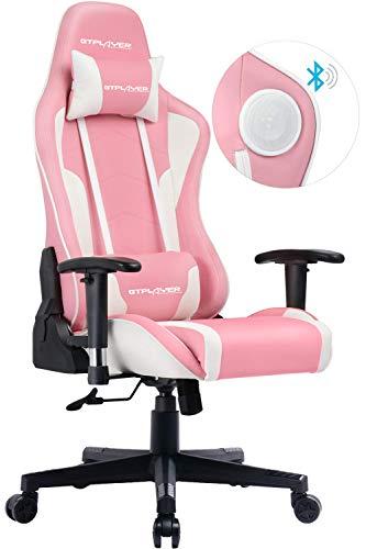 GTPLAYER Gaming Stuhl mit Lautsprecher Bürostuhl Schreibtischstuhl Serie Musik Audio Gamer Stuhl Drehstuhl Ergonomisches PC Stuhl Multi-Funktion E-Sports Chefsessel Rosa