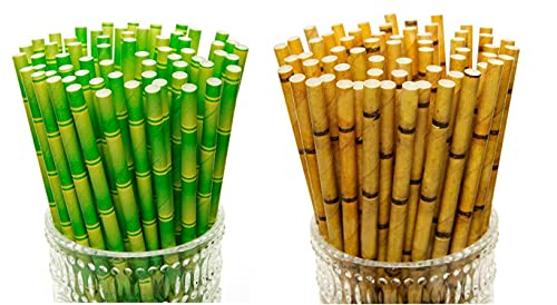YEHAM 100 Pc 2 Different colors Biodegradable Bamboo Print Paper Drinking Straws for Juices Shakes Birthday Wedding Party Supplies