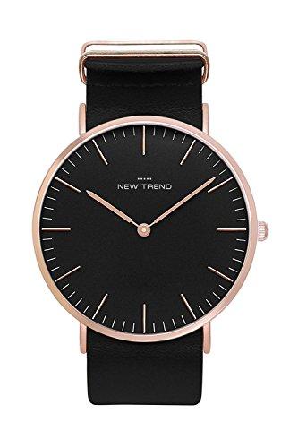 New Trend Armbanduhr Damen-Uhr Herren-Uhr Quarz-Uhr Analog-Uhr mit Kunst-Leder-Armband Rosegold Schwarz