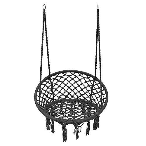 Silla De Hamaca Malla acampar solo golpe del amortiguador de la carga máxima de 120 kg Teniendo colgantes al aire libre Hamaca Silla Adecuado Para Porches De Patio ( Color : Black , Size : 120cm )