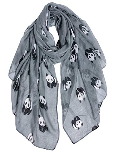 GERINLY Cute Pandas Print Wrap Scarfs for Women Gifts for Panda Bear Lovers (Light Grey)