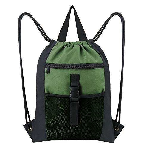 Green Drawstring Backpack Bag Sports Gym Heavy Duty Cinch Sack with Zipper Mesh Front Pocket String Sackpck for Boys Girls Teens with Inside Pocket
