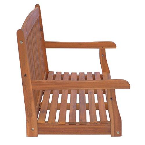 Outsunny Hängebank Gartenschaukel Hollywoodschaukel 2-Sitzer mit Ketten Holz Braun B122 x T61 x H59cm - 3