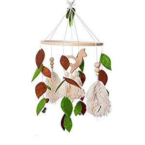 Baby Crib Mobile – MMH Handmade Wooden Mobile for Crib with Non-Woven Leaves & Wood Camel Tassel Baby Mobile Bassinet Mobile Toy Mobile for Baby Nursery Decor and Ceiling Decoration (Leaves + Camel)