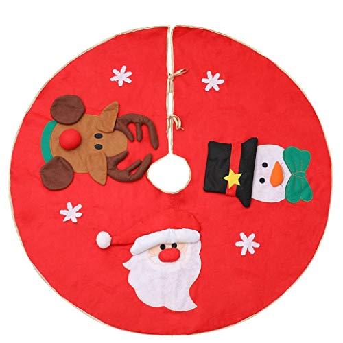 WXL - Falda para árbol de Navidad, color rojo, 35 pulgadas, decoración de Navidad, decoración de Año Nuevo, decoración de Navidad, falda de árbol, adornos navideños (color: D)