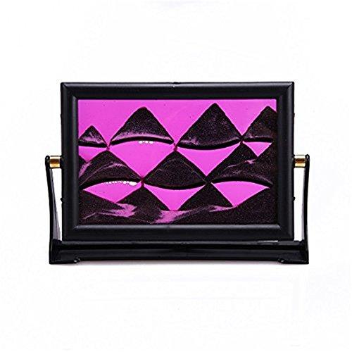 Deerbird® 3D Déplacer Peinture de sable Paysage abstrait Dynamique Déplacer Photos de sable Avec cadre en plastique ABS Art de sable (rose)