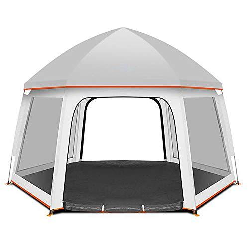 MALY Kuppelzelt, Outdoor Camping Hexagon Zelt 3-5 Personen Geschwindigkeit Open Pop-up Zelt Doppel Einzelnes Familienzelt Geeignet zum Wandern,White