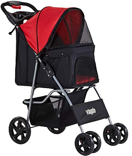 VIAGDO Dog Stroller, Pet Strollers for Small Medium Dogs & Cats, 4 Wheels Dog Jogging Stroller Folding Doggy Stroller with Storage Basket for Dog & Cat Traveling Strolling Cart