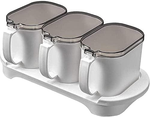 3 stuks smaakgeval set flip plastic smaakstof box kruiden opbergdoos jam met cover en lepel keukengereedschap Kruiden…