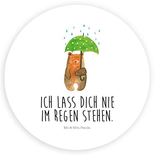 Mr. & Mrs. Panda Etikett, Aufkleber, 40mm Rund Aufkleber Bär mit Regenschirm mit Spruch - Farbe Weiß