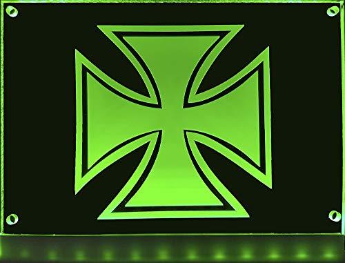 LED Schild Eisernes Kreuz 20x15 cm ✓ Leuchtschild ✓ Lasergraviert | Edles beleuchtetes Schild als Truck-Accessoire | Beleuchtetes Eisernes Kreuz für den 12/24Volt-Anschluss |