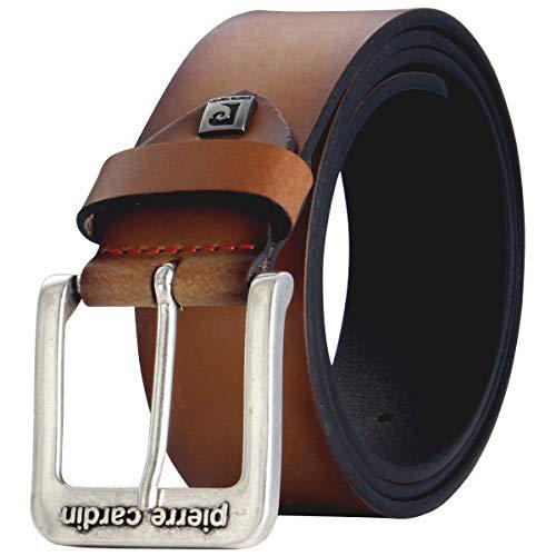 """Pierre Cardin Cinturón de piel de vacuno para hombre, 40 mm de ancho y 3,8 mm de grosor, se puede acortar marrón cintura 43.5""""/XL/110 cm"""