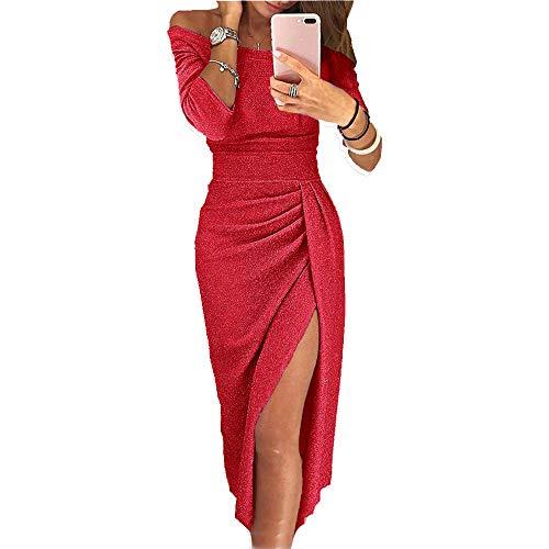 OrientalPort Elegant Schulterfreies Kleid Damen Pailletten Bodycon Cocktailkleid Partykleid Sexy Seitensplit Abendkleid Maxikleid, Rot, M