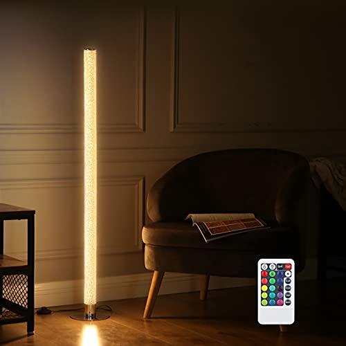 EDISHINE Stehlampe Wohnzimmer, LED Stehlampe mit Fernbedienung, RGB Kristallene Stehleuchte mit RGB Farbwechsler in Chrom,Dimmbar 3000K(warmweiß), Max. 2688 Lumen, CE zertifiziert