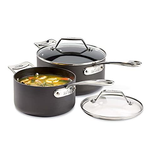 All-Clad Essentials Nonstick Saucepan set, 4-Piece, Grey
