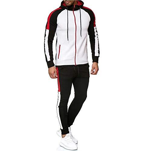 Chándal Completo para Hombre, Moda Slim Fit Conjunto Deportivo de Manga Larga Casual Sudadera con Capucha + Pantalones Deportivos Conjuntos