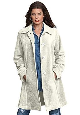 Roamans Women's Plus Size Plush Fleece Jacket - 1X, Ivory from Roamans