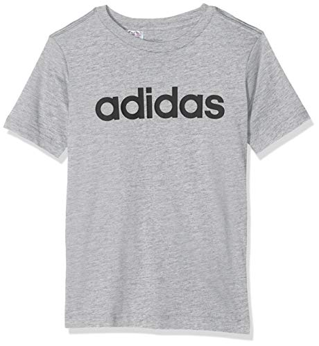 adidas Jungen YB E LIN Tee T-Shirt, medium Grey Heather/Black, 1314