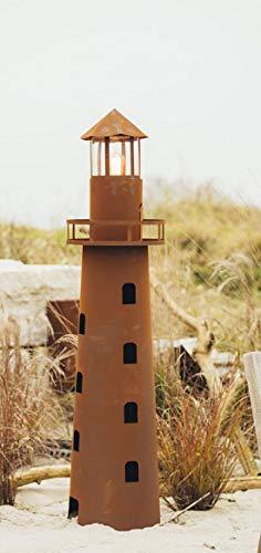 Ferrum Gartendeko Außendeko Leuchtturm Statue Kunstobjekt Skulptur aus Metall Edelrost Norddeutschland mit Glas + Lampenfassung + Kabel - Maße 116 cm x 16 cm…