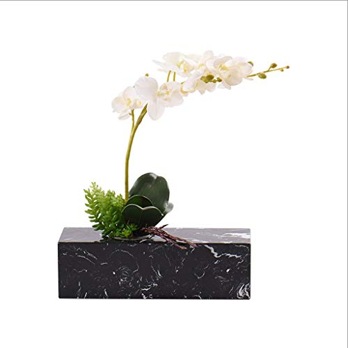 NYKK Artificial Flowers Chinese-style Light Marble Artificial Floral Artificial Butterfly Orchid, Porch Artificial Bonsai Hotel Home Decoration, Artificial Plant Artificial Pot Fake Flowers