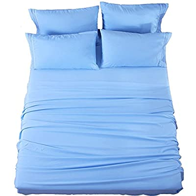 SONORO KATE Bed Sheets Set Sheets Microfiber Super Soft 1800 Thread Count Luxury Egyptian Sheets 16-Inch Deep Pocket Wrinkle Fade and Hypoallergenic - 6 Piece (King, Lake Blue)