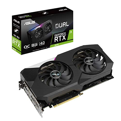 ASUS Dual NVIDIA GeForce RTX 3070 OC Edition Gaming Graphics Card (PCIe 4.0, 8GB GDDR6 Memory, HDMI 2.1, DisplayPort 1.4a, Axial-tech Fan Design, Dual BIOS, Protective Backplate, GPU Tweak II)