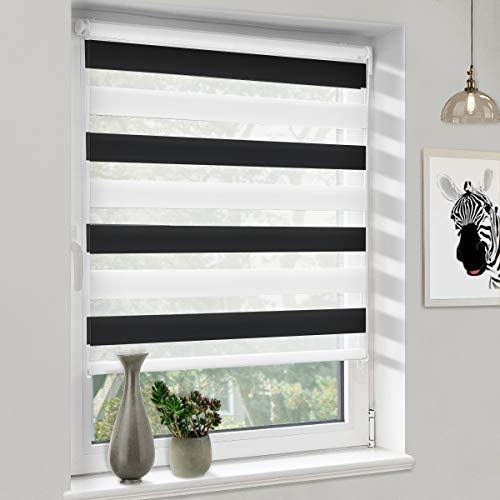 Sanfree Duo Rollo ohne Bohren klemmfix, Doppelrollo für Fenster und Tür Klämmträger Doppellagiger Rollo, Sonnenschutz Seitenzugrollo Sichtschutz, Schwarz-Weiß 40x120cm (BxH)