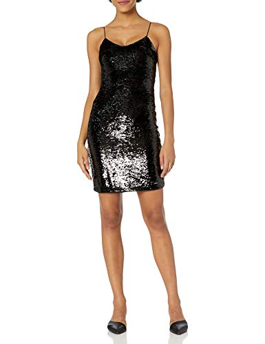 Armani Exchange AX Damen Short Sleeveless Sequin Going Out Dress Kleid für besondere Anlässe, Schwarz/Gun Metal, 30