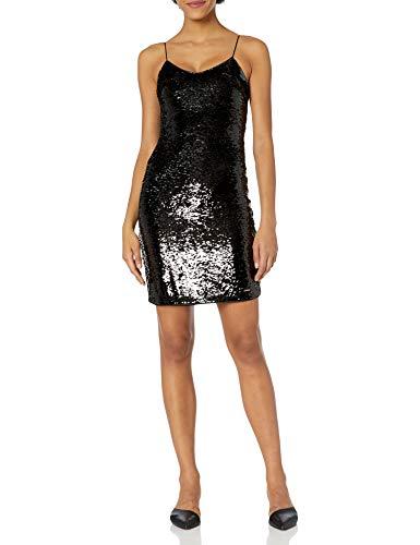 Armani Exchange AX Damen Short Sleeveless Sequin Going Out Dress Kleid für besondere Anlässe, Schwarz/Gun Metal, 36