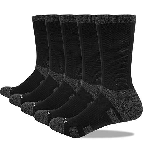 YUEDGE 5 Paar Damen Socken Atmungsaktive Baumwolle Sportsocken Wandersocken Warme Dicke Crew Schwarz Socken für Damen 35-39