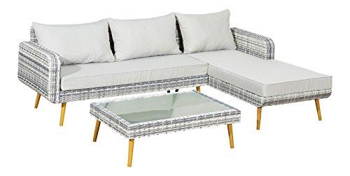 Jet-line Salon de jardin en aluminium et polyrotin - Gris - Salon de jardin - Groupe La Paz en gris avec table et repose-pieds