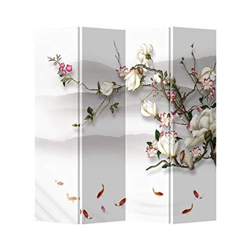 Fine Asianliving Paravent Raumteiler Spanische Wand Trennwand Room Divider Raumtrenner Sichtschutz Japanisch Orientalisch Chinesisch L160xH180cm Bedruckte Canvas Doppelseitig Asiatisch