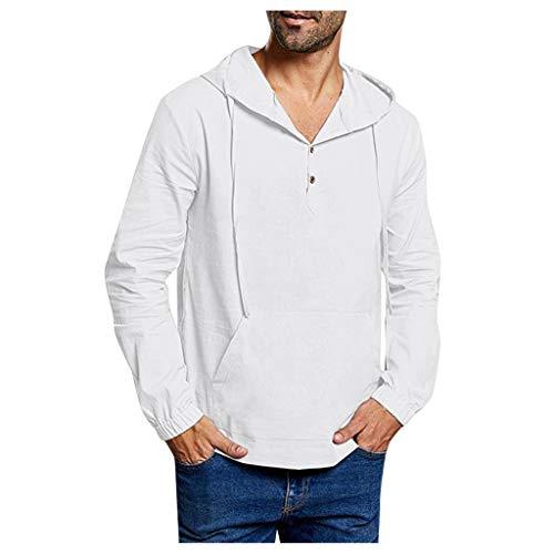 TUDUZ Camisetas Hombre Manga Larga Encapuchado Camisas Algodon Y Lino Tops Color Sólido(O Blanco,L)