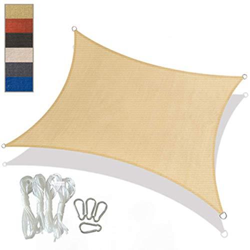 DLHXD Sun Shade Sail Square, UV-Block Staub- und Windschutz Sonnenschutz Markisenüberdachung Hochwertiges Polyester, für Patio, Garten, Gartenterrasse Sun Sail Shelter(Cream color3*4m)