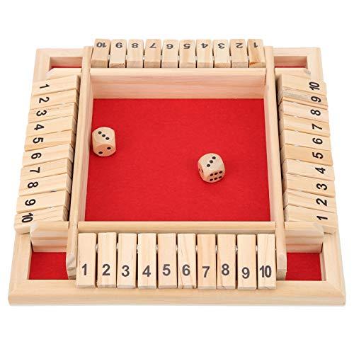 Juego de dados de madera, hermosa diversión para jugar, juguete de dados de tablero de madera, mejora las habilidades sociales básicas Juegos de 4 caras y 10 números, para barra KTV