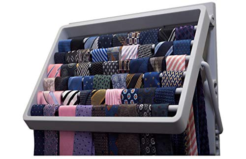 TieMaster tie master holds 60-70 ties tie rack tie organizer tie holder closet tie organizer 8 position tie organizer mounts on the wall fits behind a door in your closet no closet rod space is used