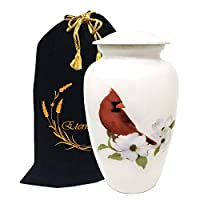 Liveurns Cardinal Bird Cremation Urn - Cardinal Cremation Urns for Human Ashes - Metal Hand Painted Burial and Funeral Cremation Urn, Memorial Urn for Human Ashes (Large Urn)