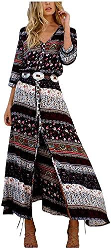 Vestido largo de manga larga con botones para mujer, estilo bohemio, estampado floral (sin cinturón)