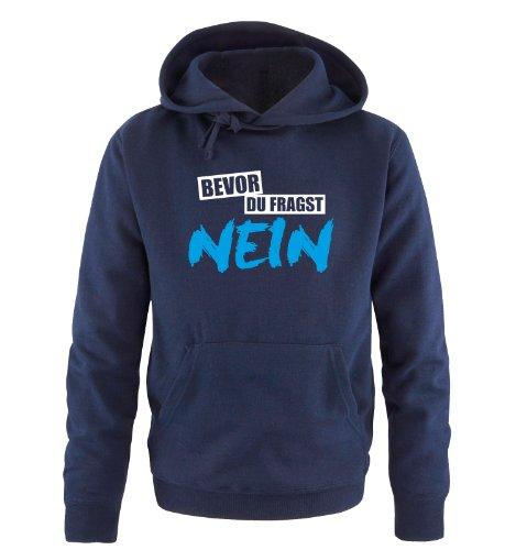 Comedy Shirts Bevor du fragst NEIN - Deluxe - Zweifarbig - Herren Hoodie - Navy/Weiss-Blau Gr. M