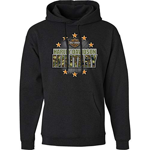 Harley-Davidson Military - Men's Charcoal Graphic Pullover Hoodie Sweatshirt - Overseas Tour   Military Stars Large