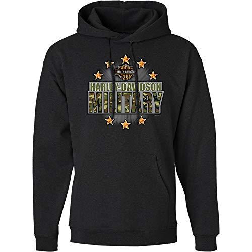 Harley-Davidson Military - Men's Charcoal Graphic Pullover Hoodie Sweatshirt - Overseas Tour | Military Stars 2X