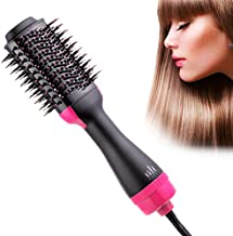 aingycy Hair Dryer Brush Hot Air Brush& Volumizer 3 in 1 Negative Ion Ceramic Electric Blow Comb for Curling and Straightening 6FT/2.0m Cord (Purple)